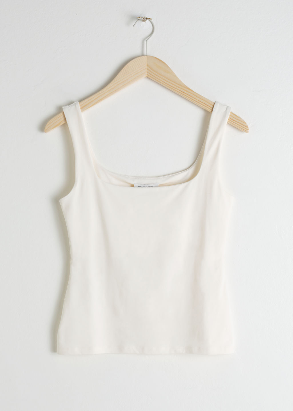 Front image of Stories square cut tank top in white