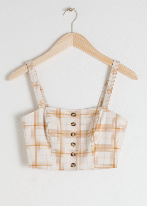 Plaid Cotton Blend Corset Top