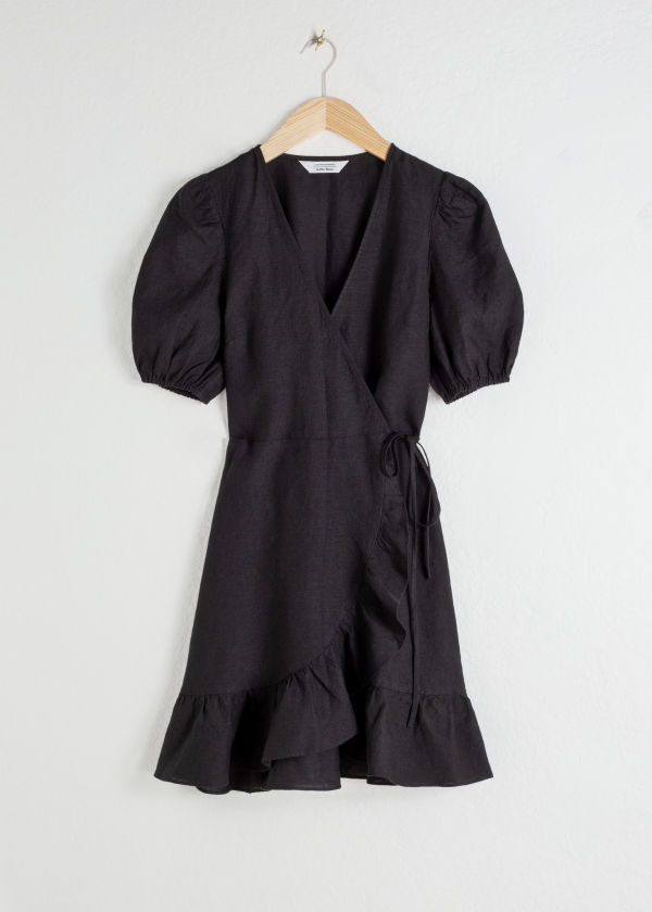 Puff Sleeve Linen Wrap Mini Dress