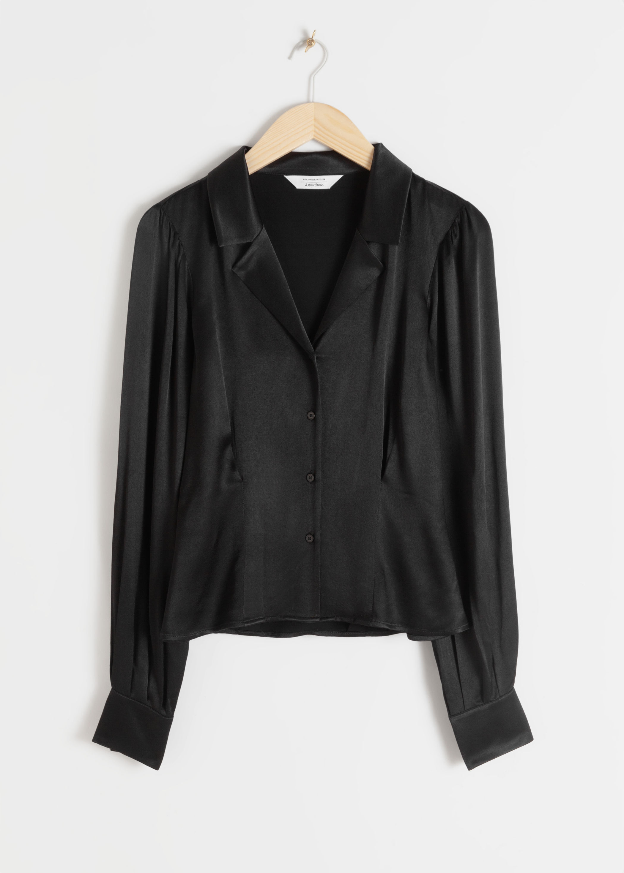 V Cut Satin Button Up Blouse by & Other Stories