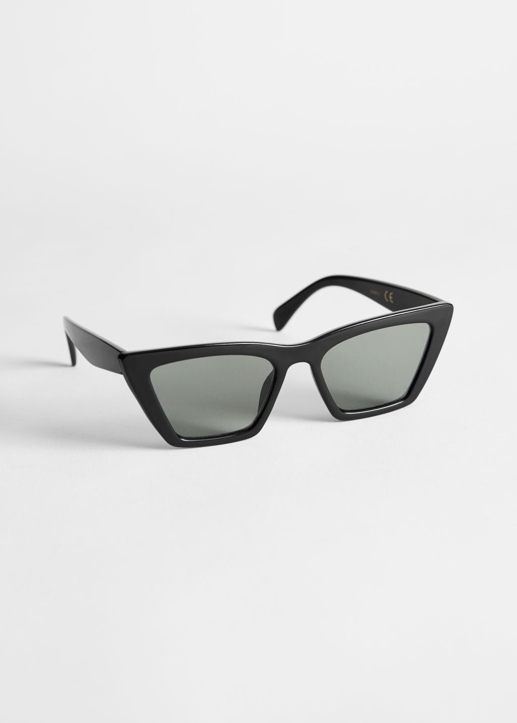 Front image of Stories angular cat eye sunglasses in black