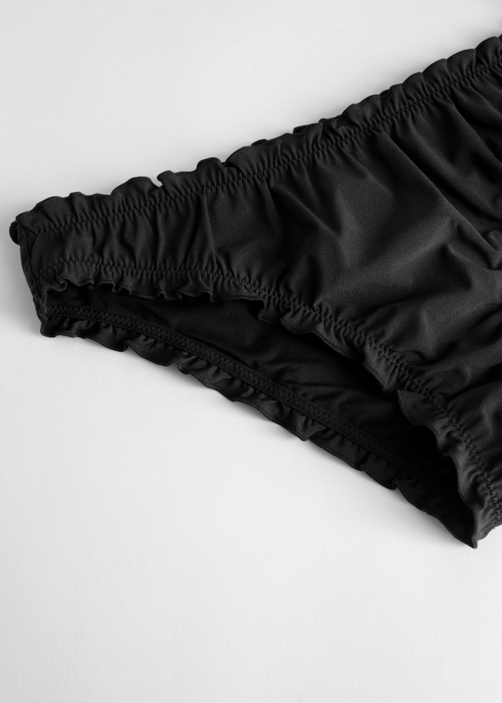 Back image of Stories ruffled bikini briefs in black