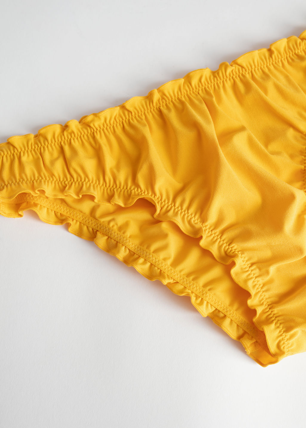 Back image of Stories ruffled bikini briefs in yellow