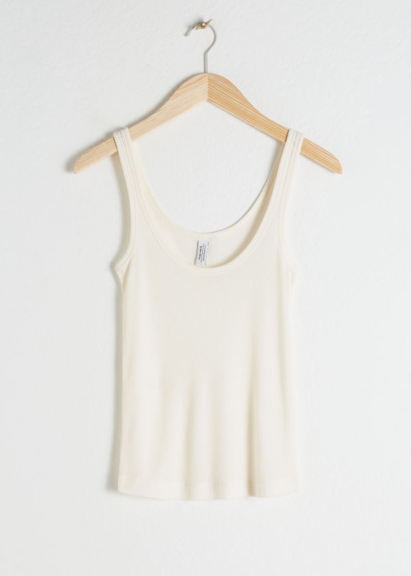 Front image of Stories ribbed lyocell tank top in white