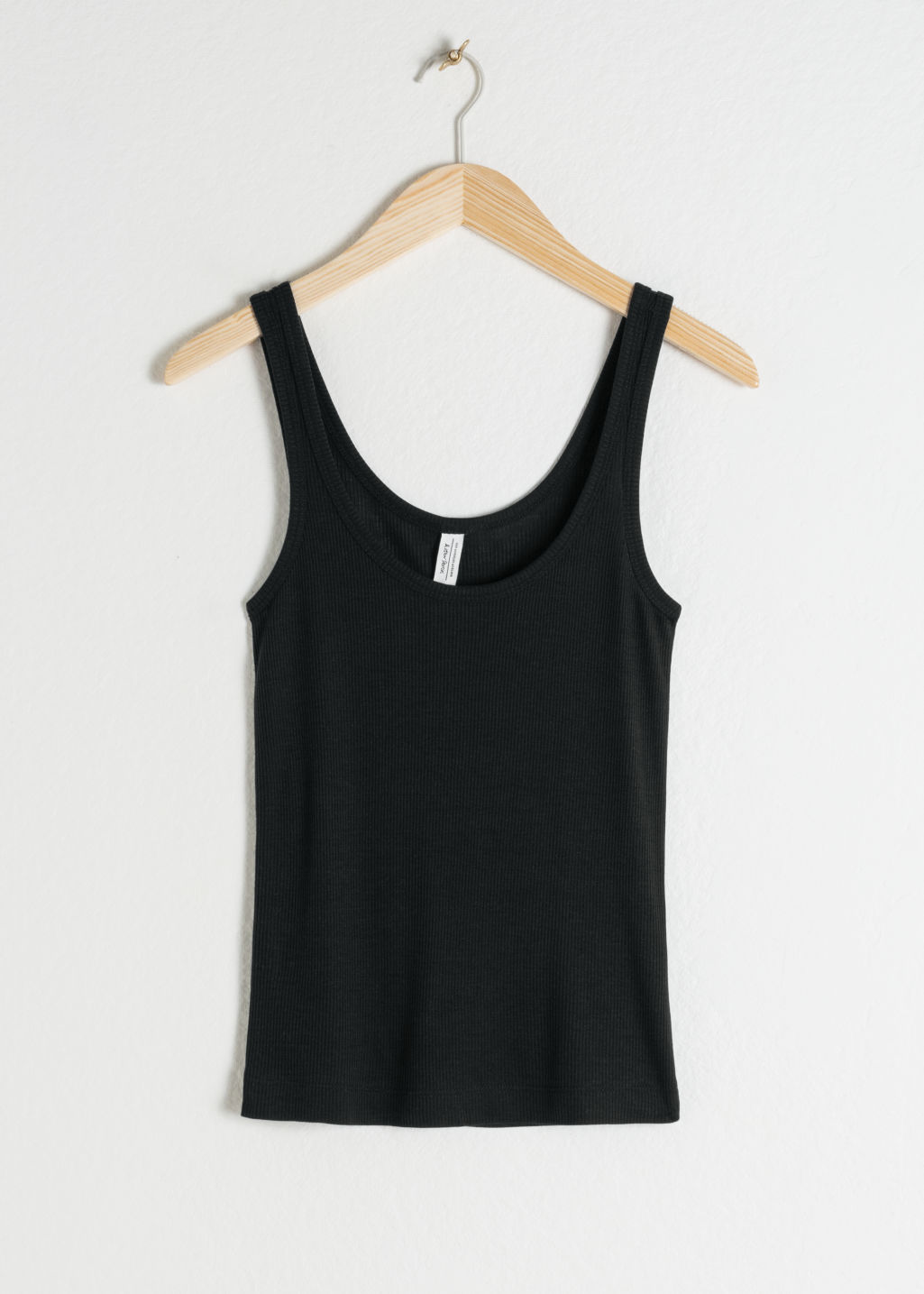 Front image of Stories ribbed lyocell tank top in black