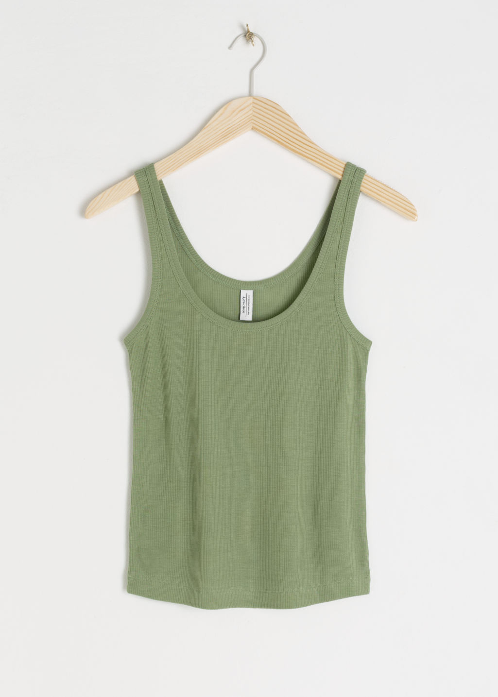 Front image of Stories ribbed lyocell tank top in green