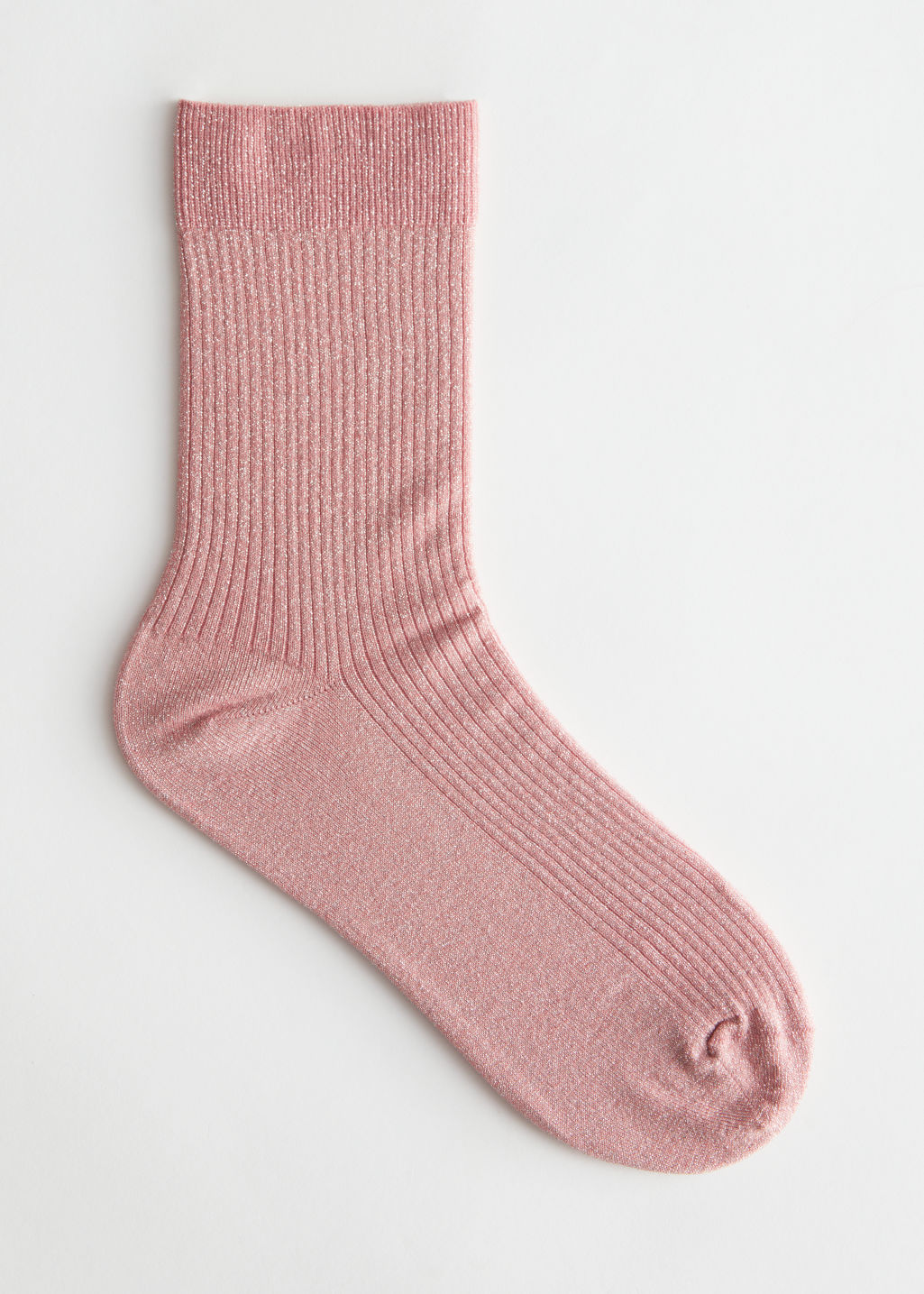 Front image of Stories glitter rib knit ankle socks in pink