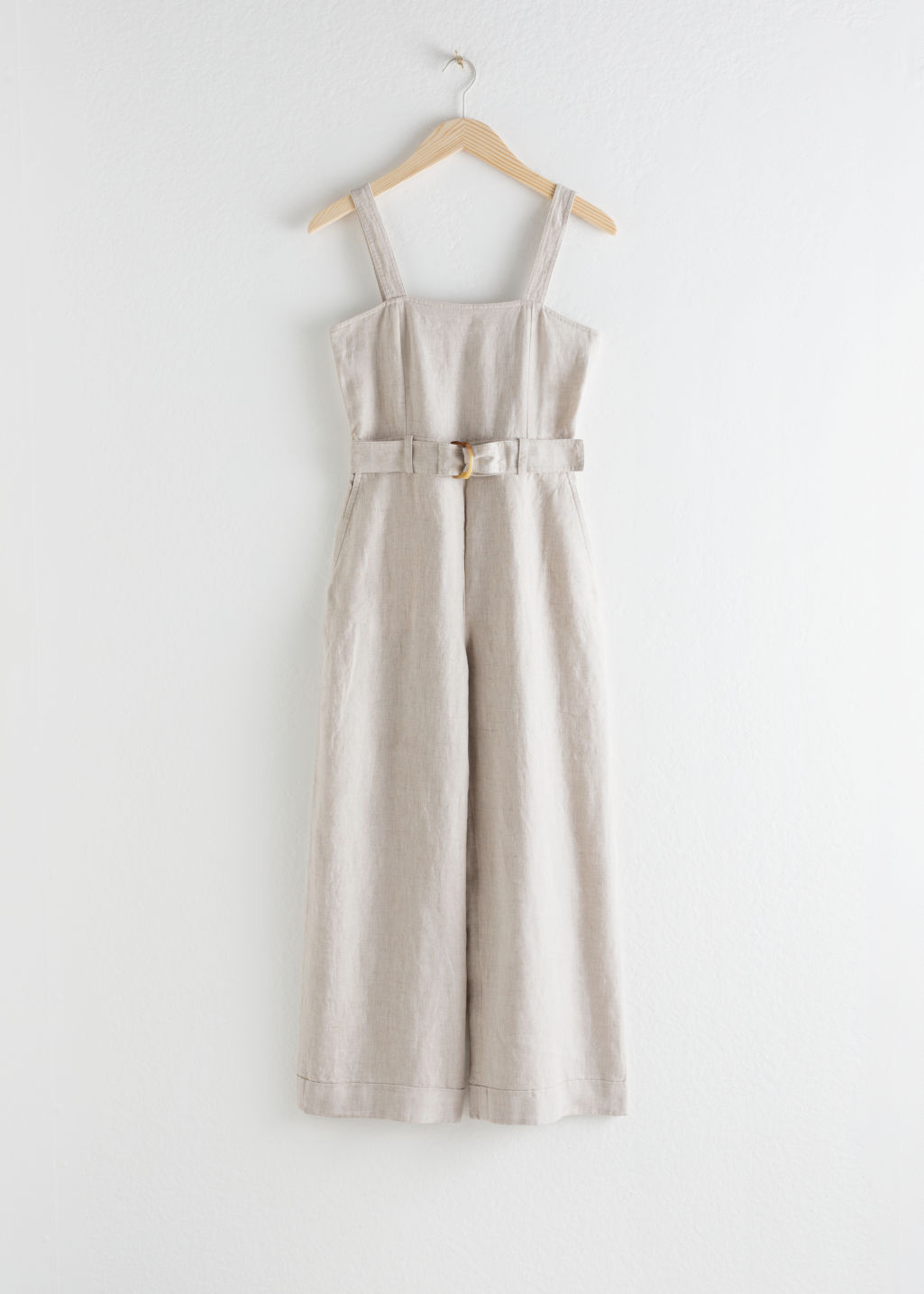 StillLife Front Image of Stories Belted Linen Jumpsuit in Beige
