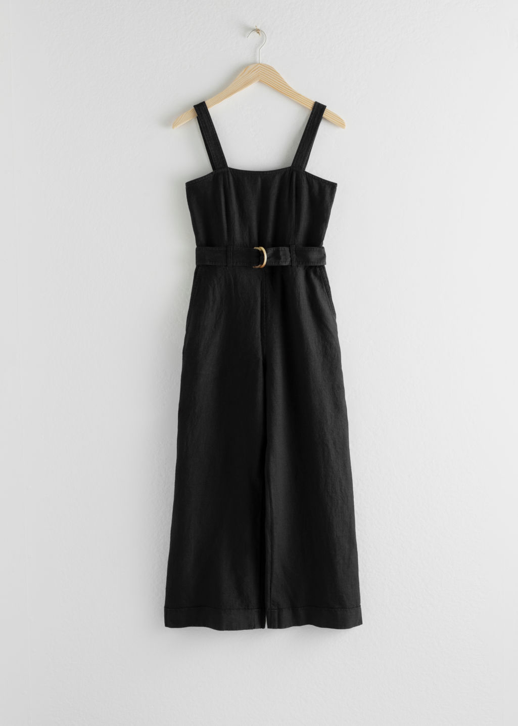 Front image of Stories belted linen jumpsuit in black