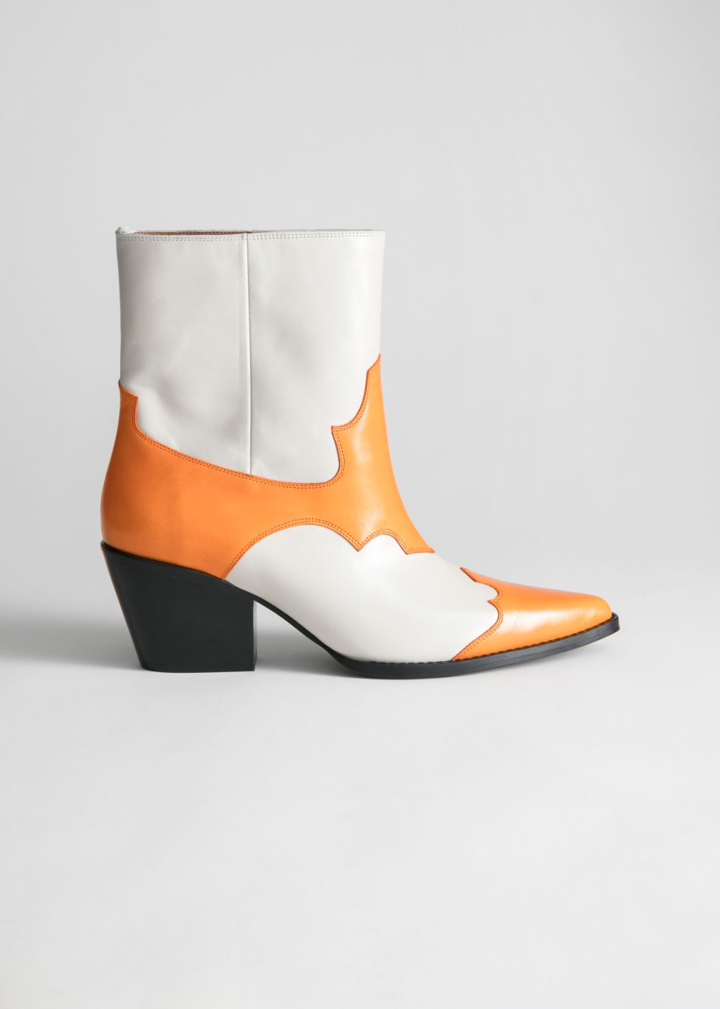 Back image of Stories duo toned leather cowboy boots in white