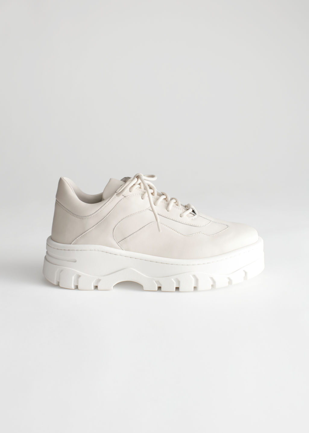StillLife Front Image of Stories Platform Leather Sneakers in Beige