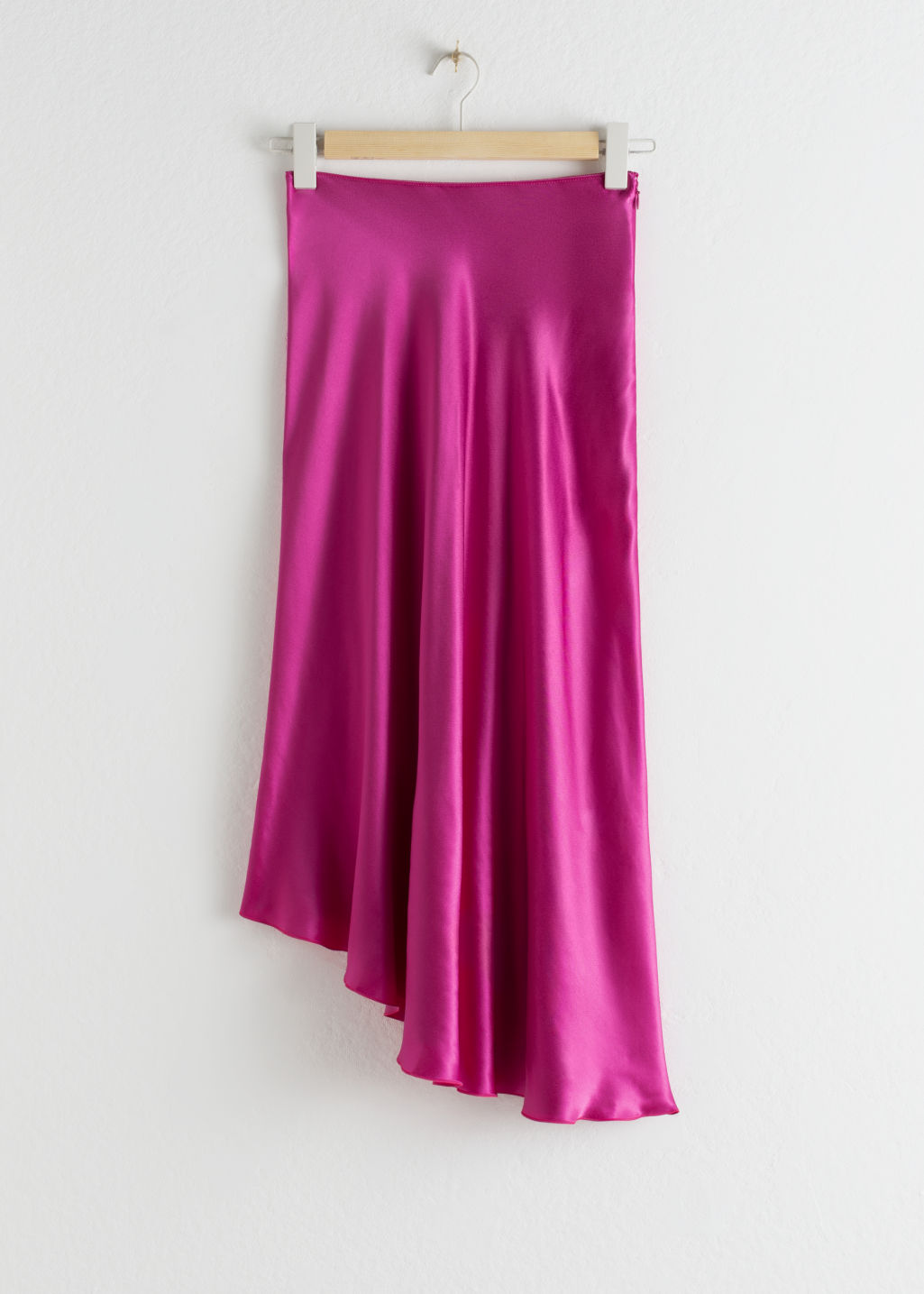 StillLife Front Image of Stories Asymmetrical Satin Midi Skirt in Pink