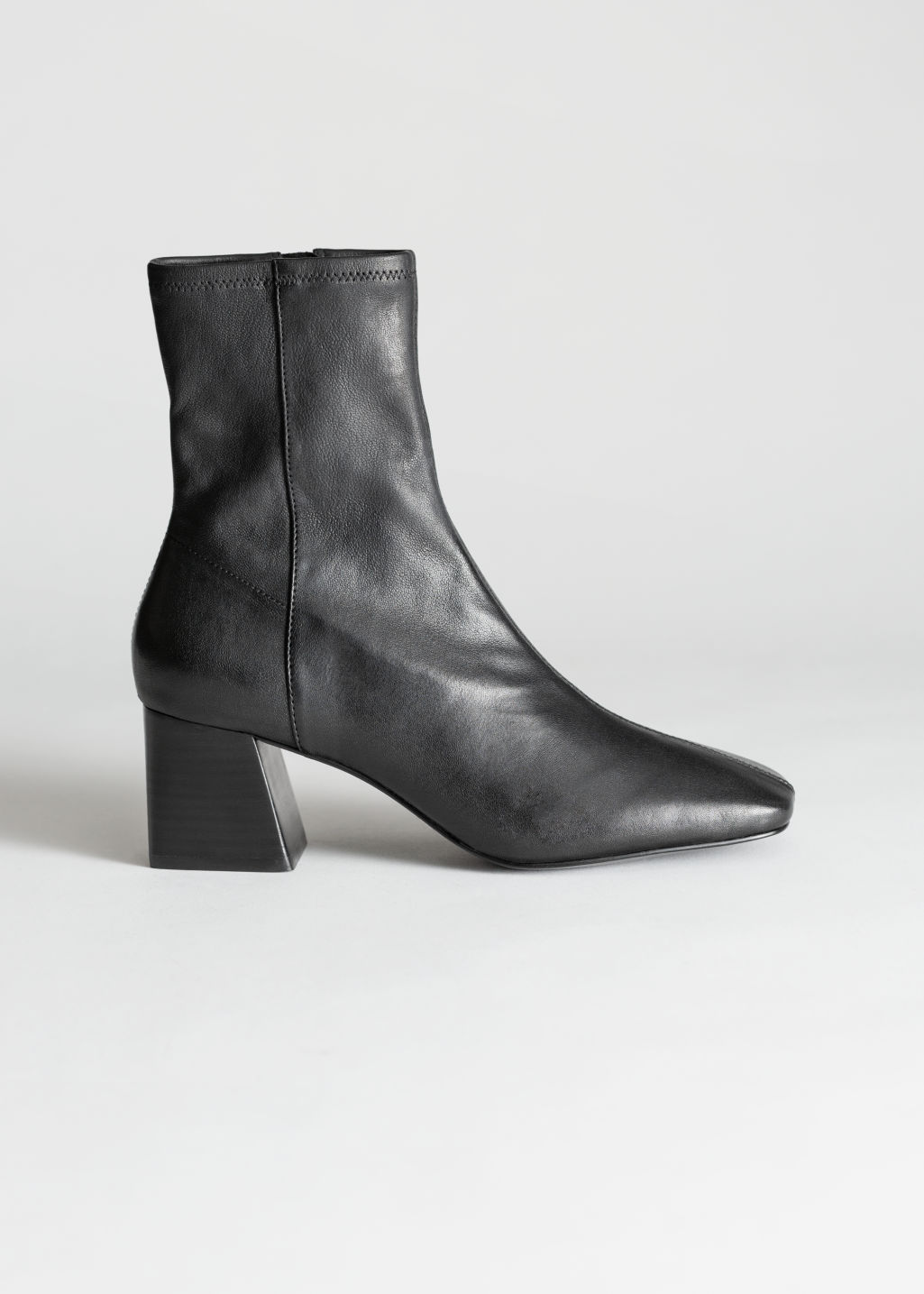 StillLife Front Image of Stories Square Toe Leather Boots in Black