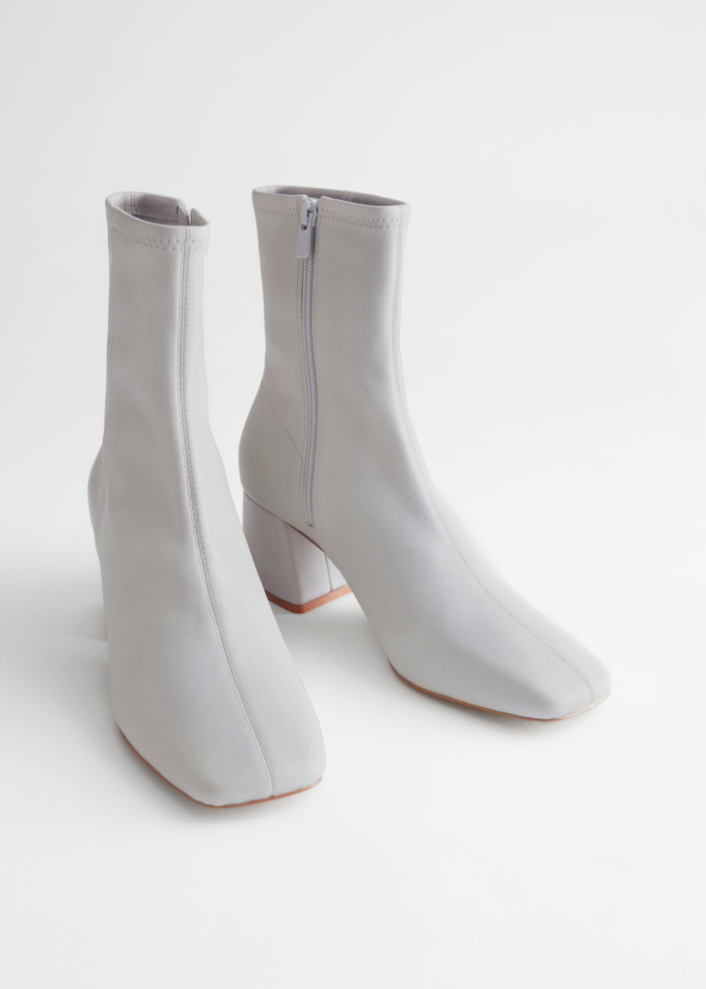 StillLife Front Image of Stories Square Toe Leather Boots in Grey