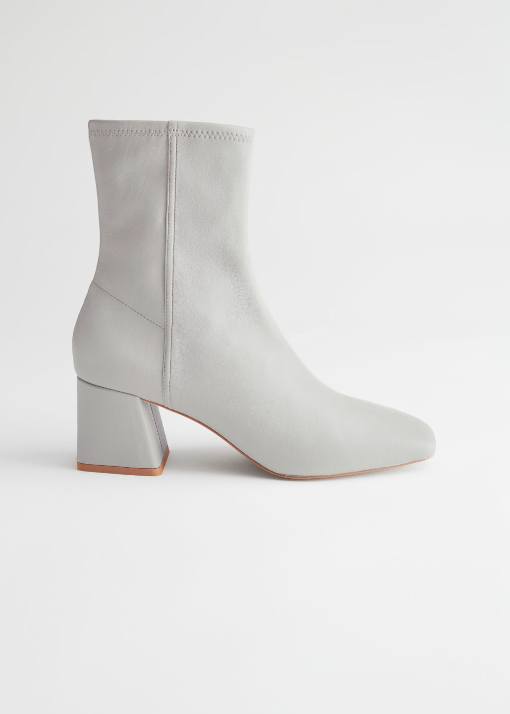 StillLife Side Image of Stories Square Toe Leather Boots in Grey