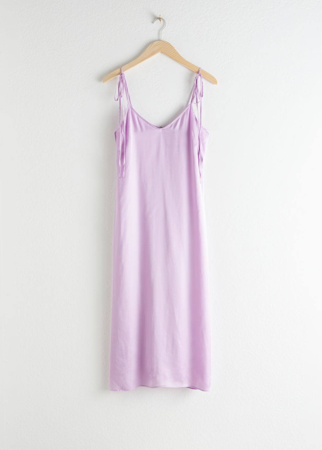 Front image of Stories shoulder tie midi slip dress in purple