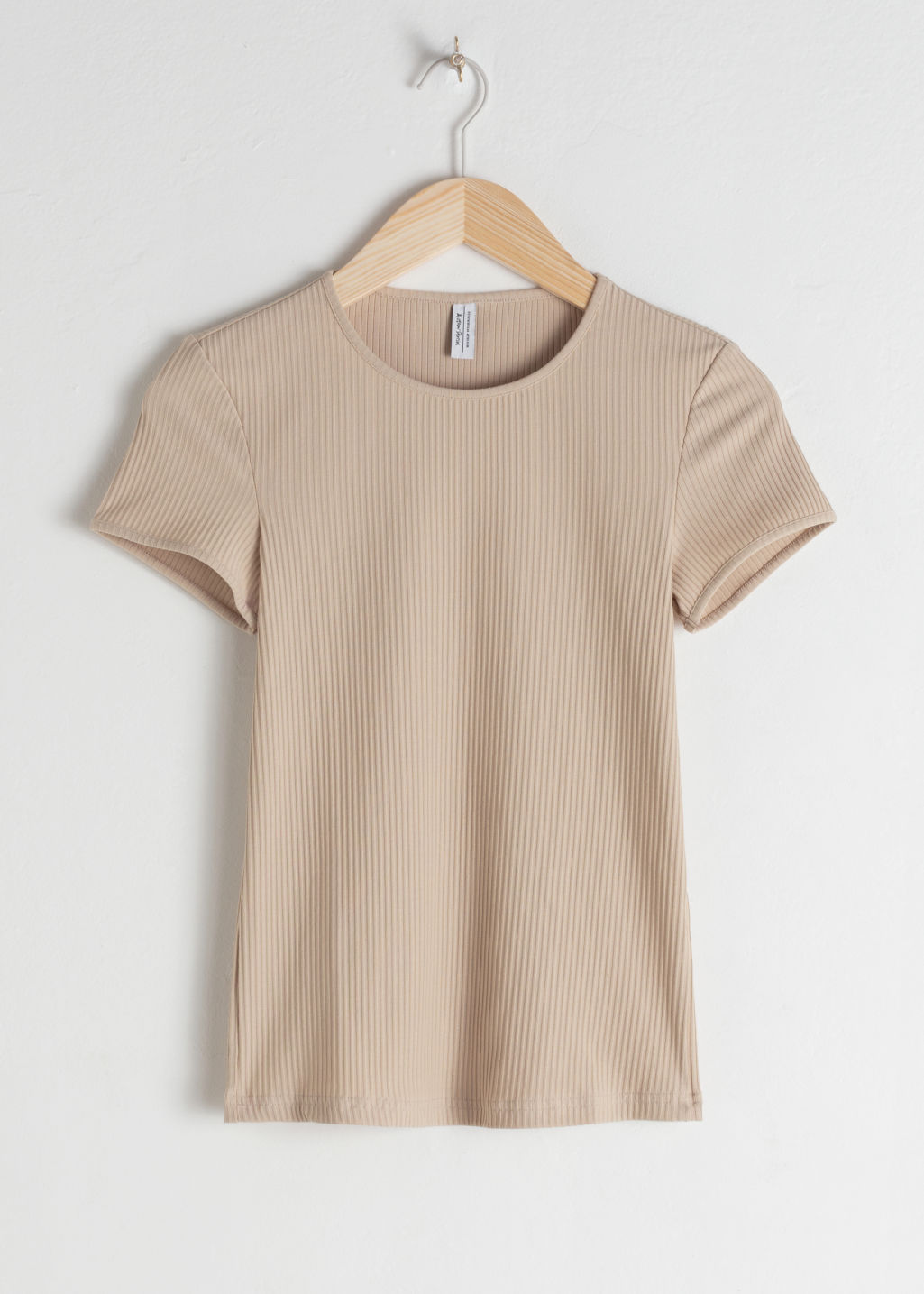 Front image of Stories stretch cotton top in beige