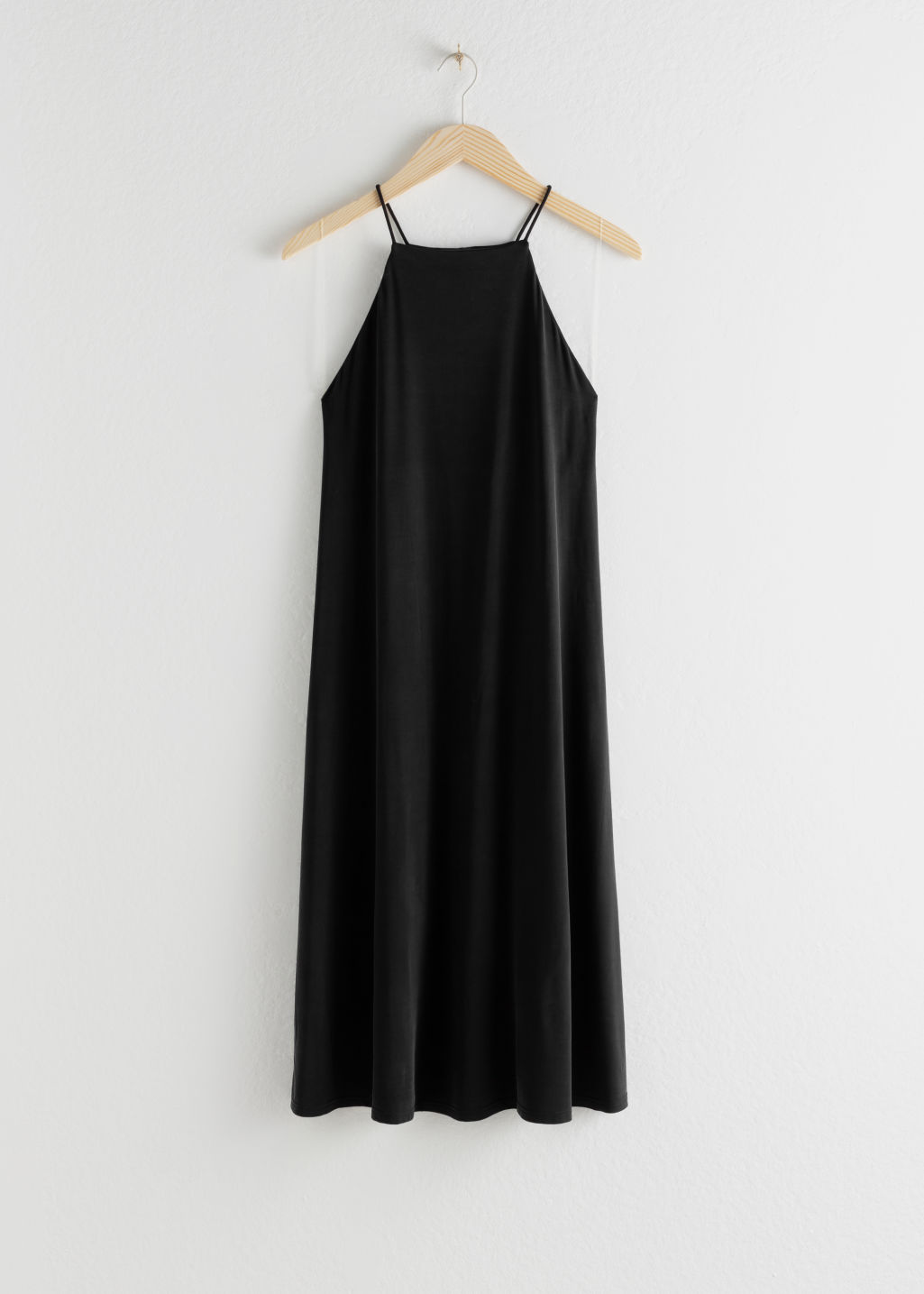 StillLife Front Image of Stories Flowy Square Neck Midi Dress in Black