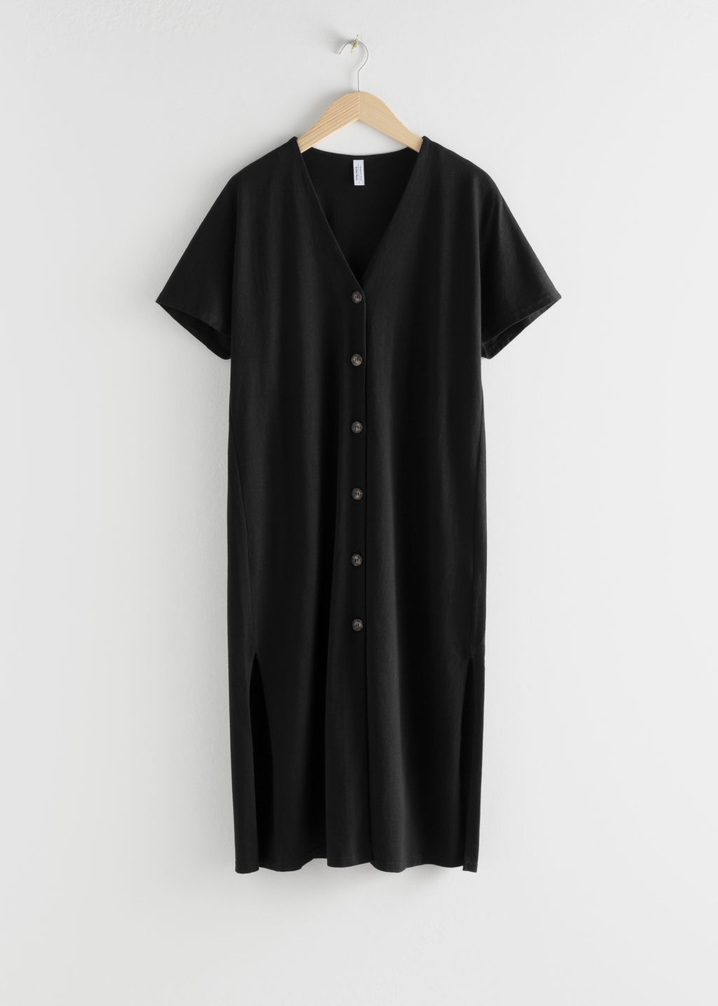 Front image of Stories linen blend relaxed midi dress in black