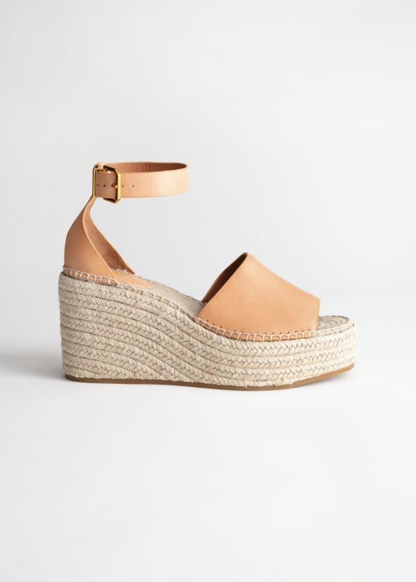 Front image of Stories espadrille sandal wedges in orange