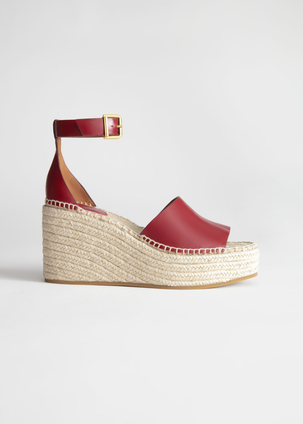 StillLife Front Image of Stories Espadrille Sandal Wedges in Red