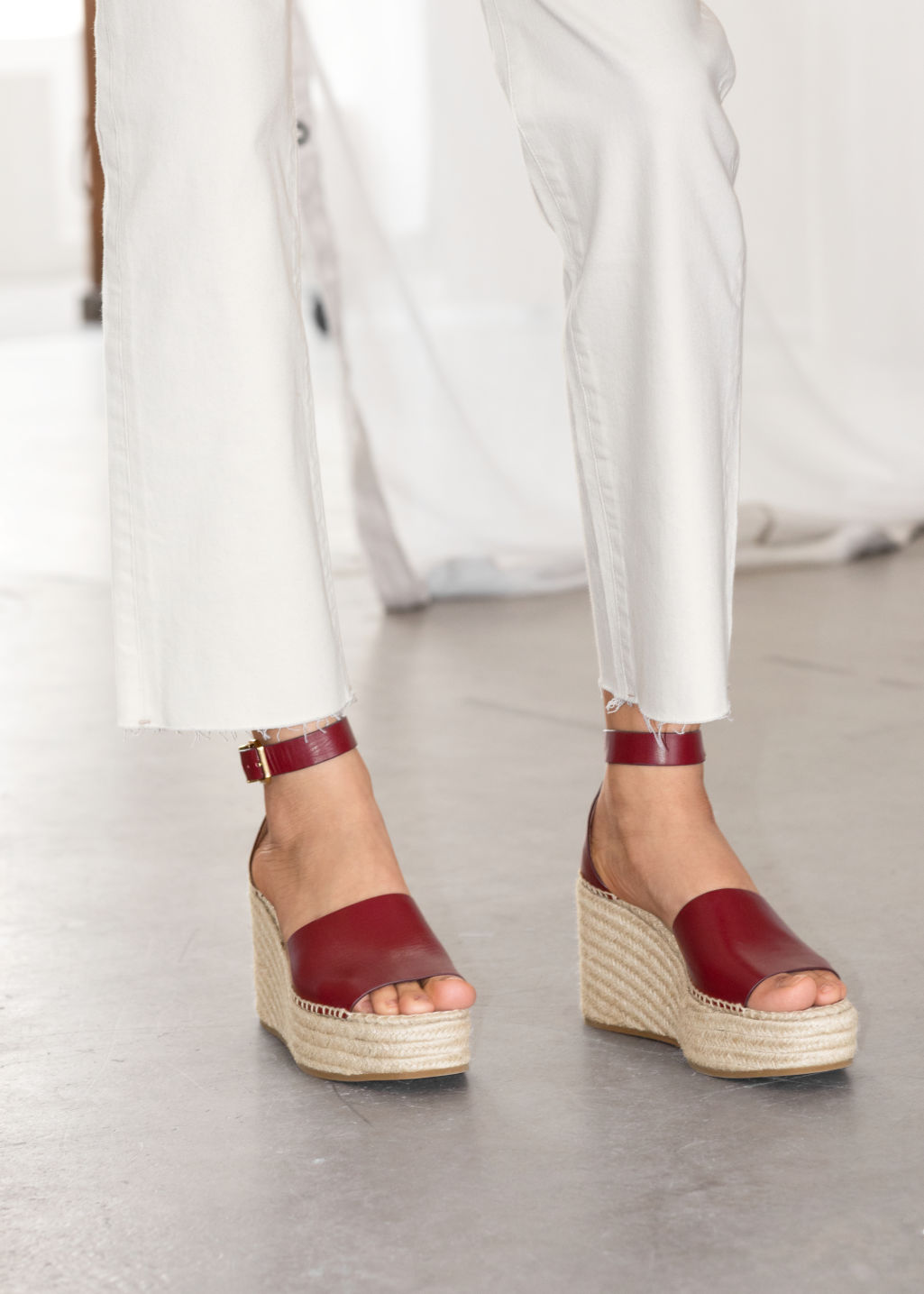 Back image of Stories espadrille sandal wedges in red