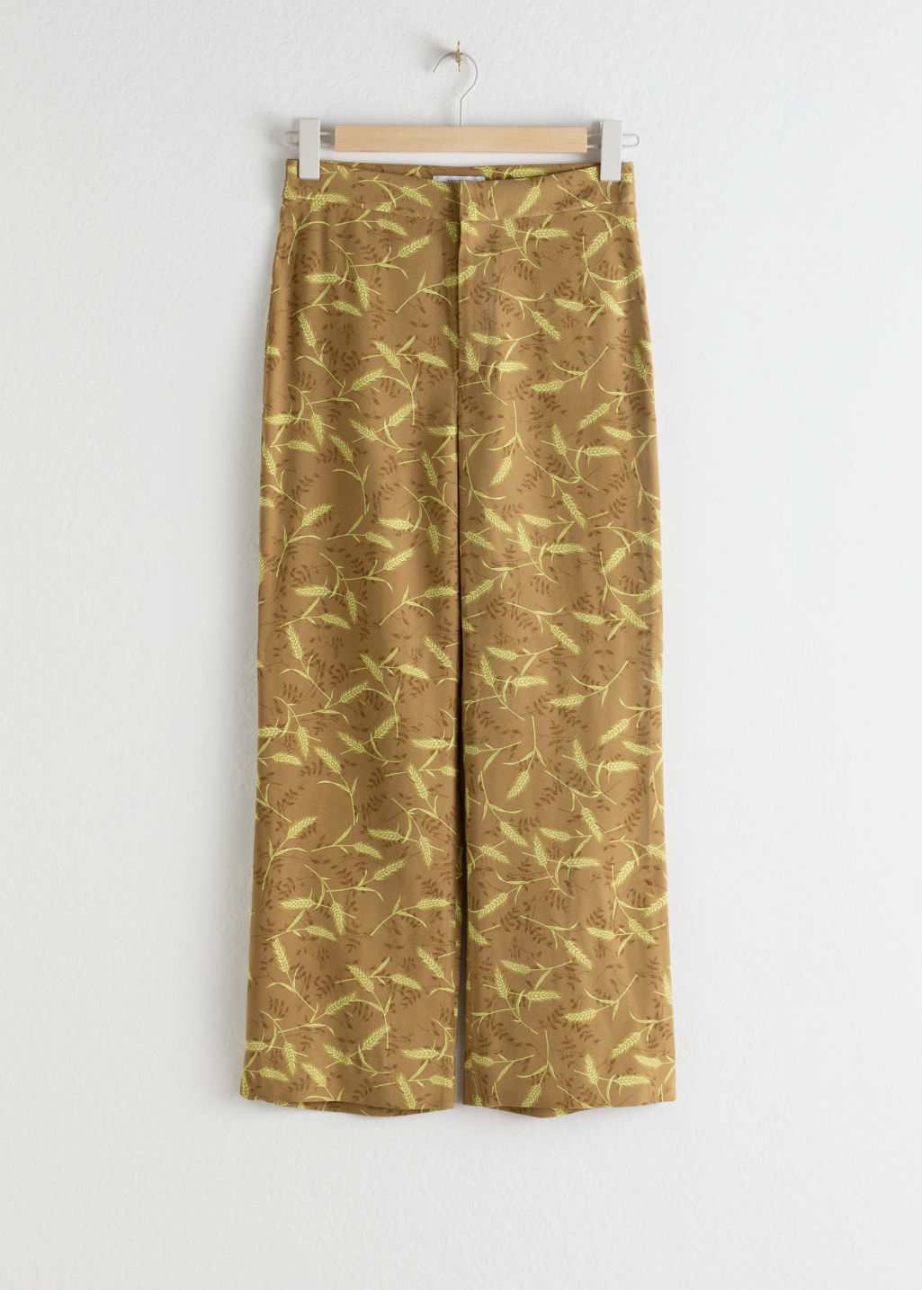 StillLife Front Image of Stories High Rise Kick Flare Trousers in Beige