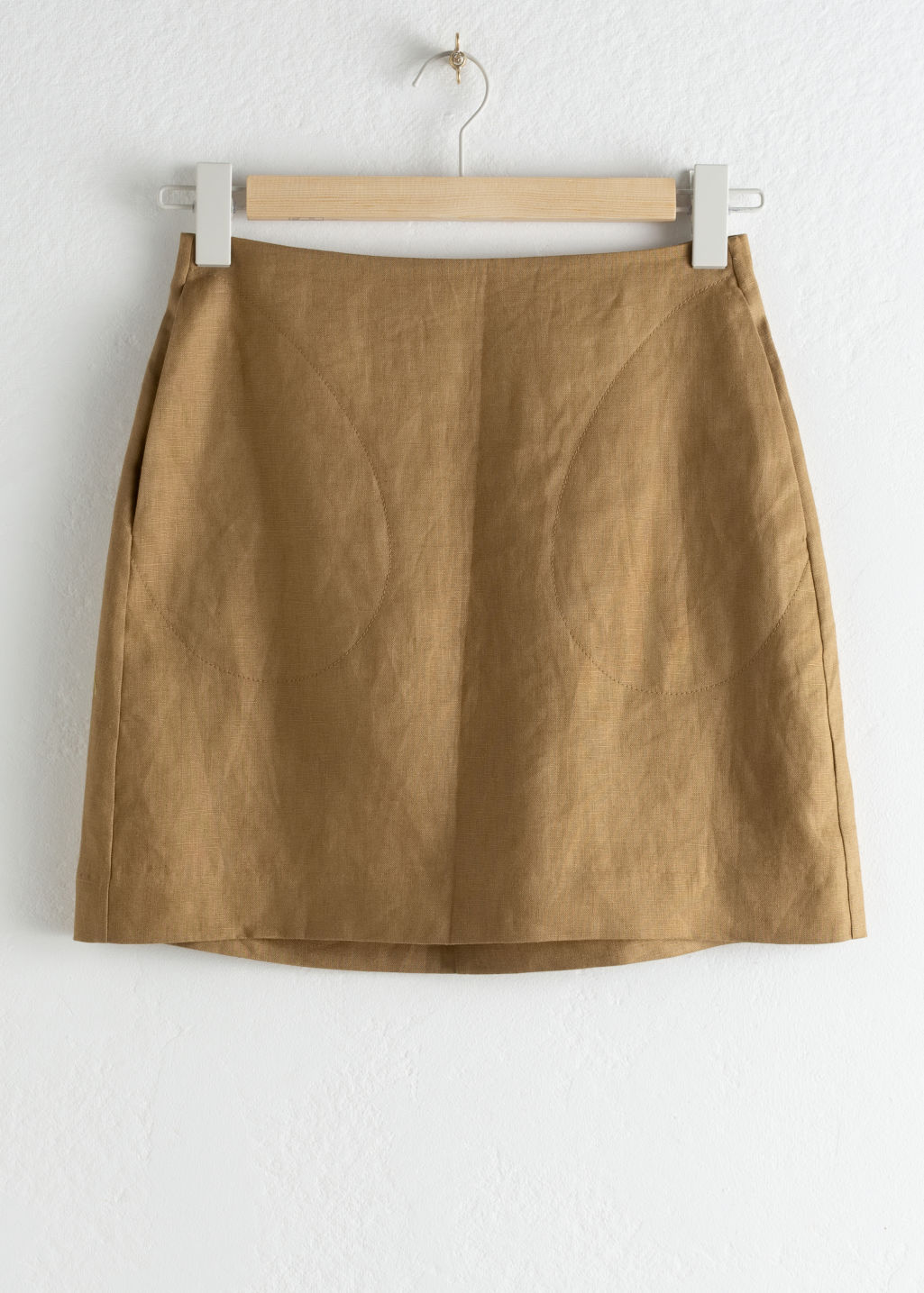 Front image of Stories linen mini skirt in beige
