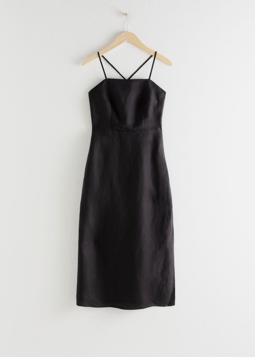 StillLife Front Image of Stories Criss Cross Linen Blend Midi Dress in Black