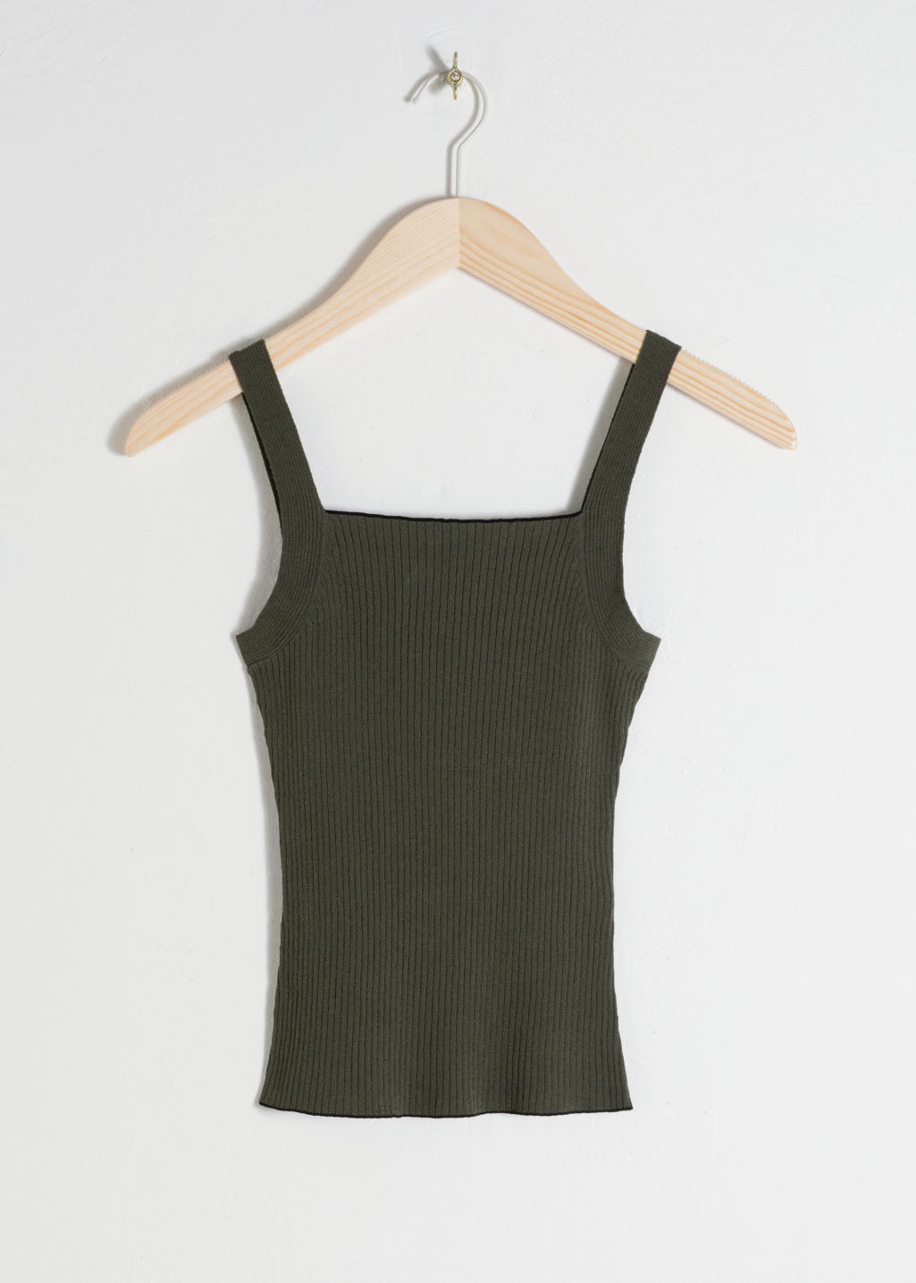 Front image of Stories square neck rib knit tank top in green