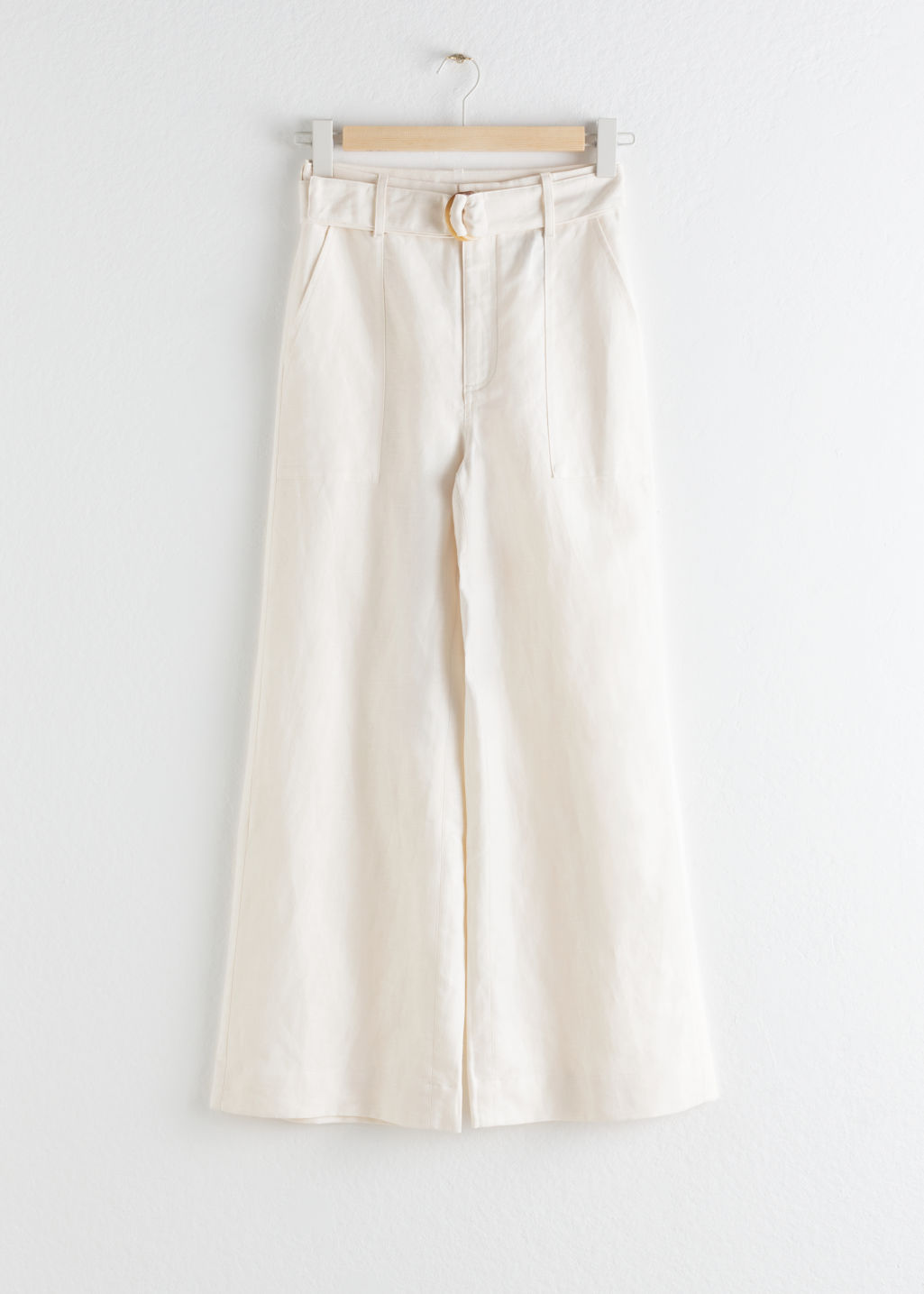 StillLife Front Image of Stories Cotton Linen Flared Trousers in White