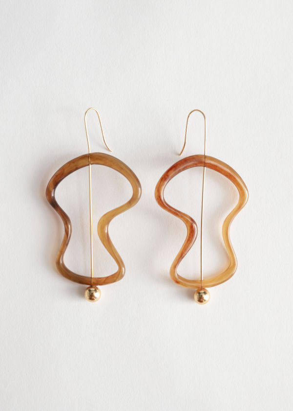 Curved Resin Hanging Earrings