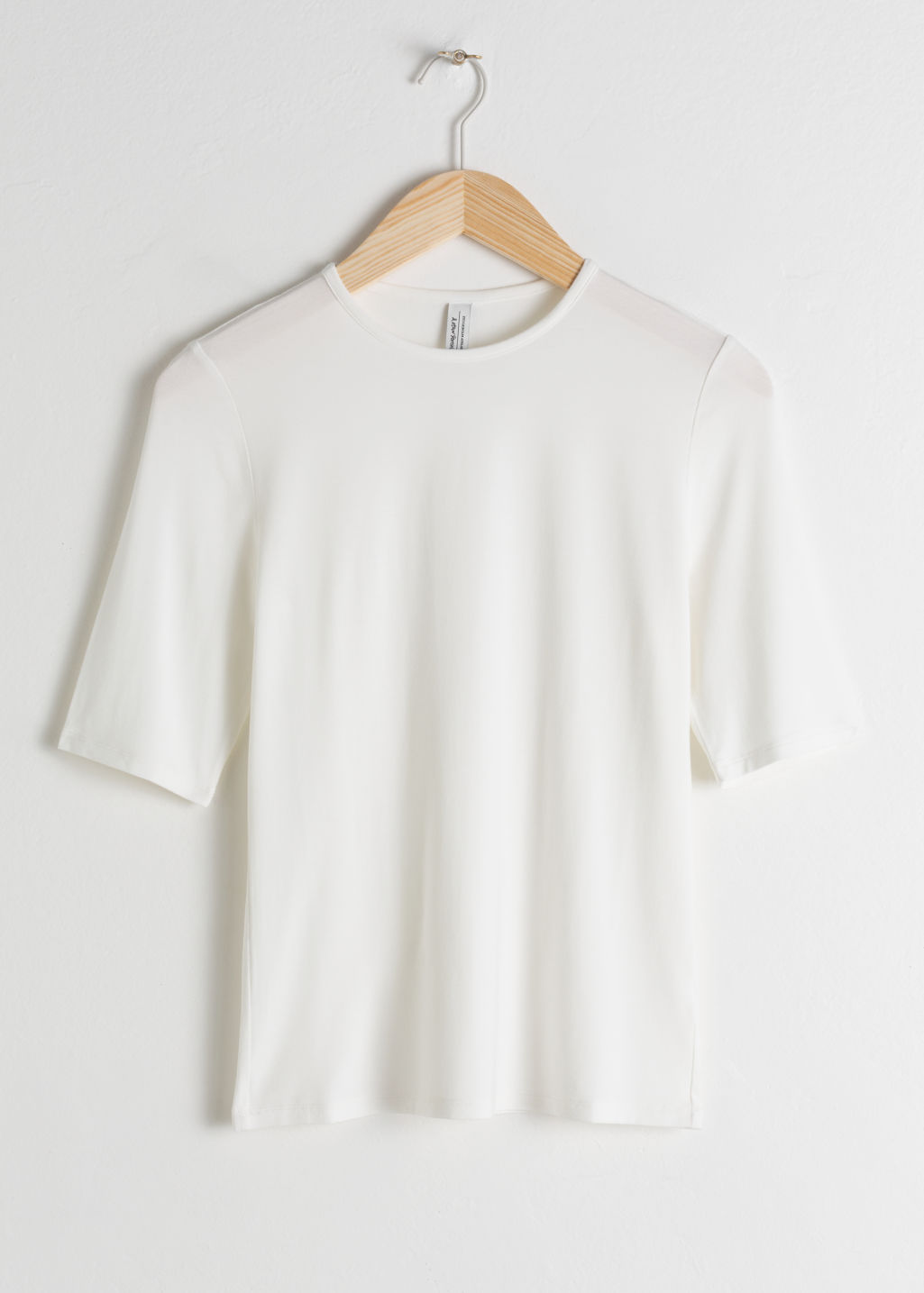 Front image of Stories high neck fitted tee in white