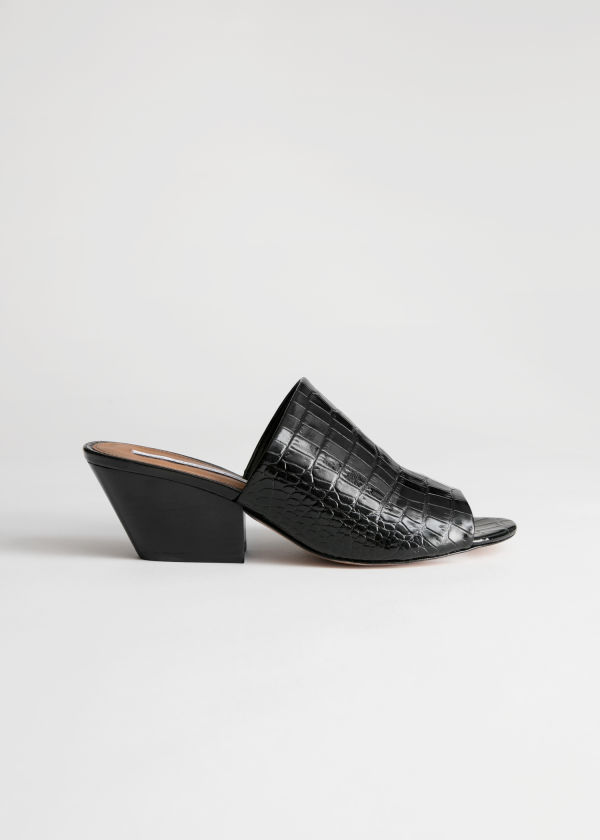 Front image of Stories open toe patent croc mules in black