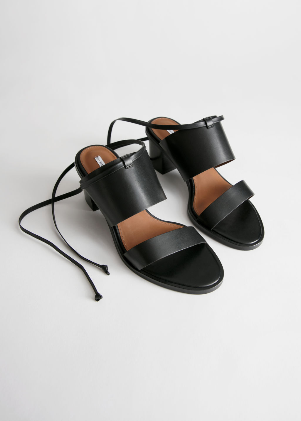 Back image of Stories lace up leather mule sandals in black