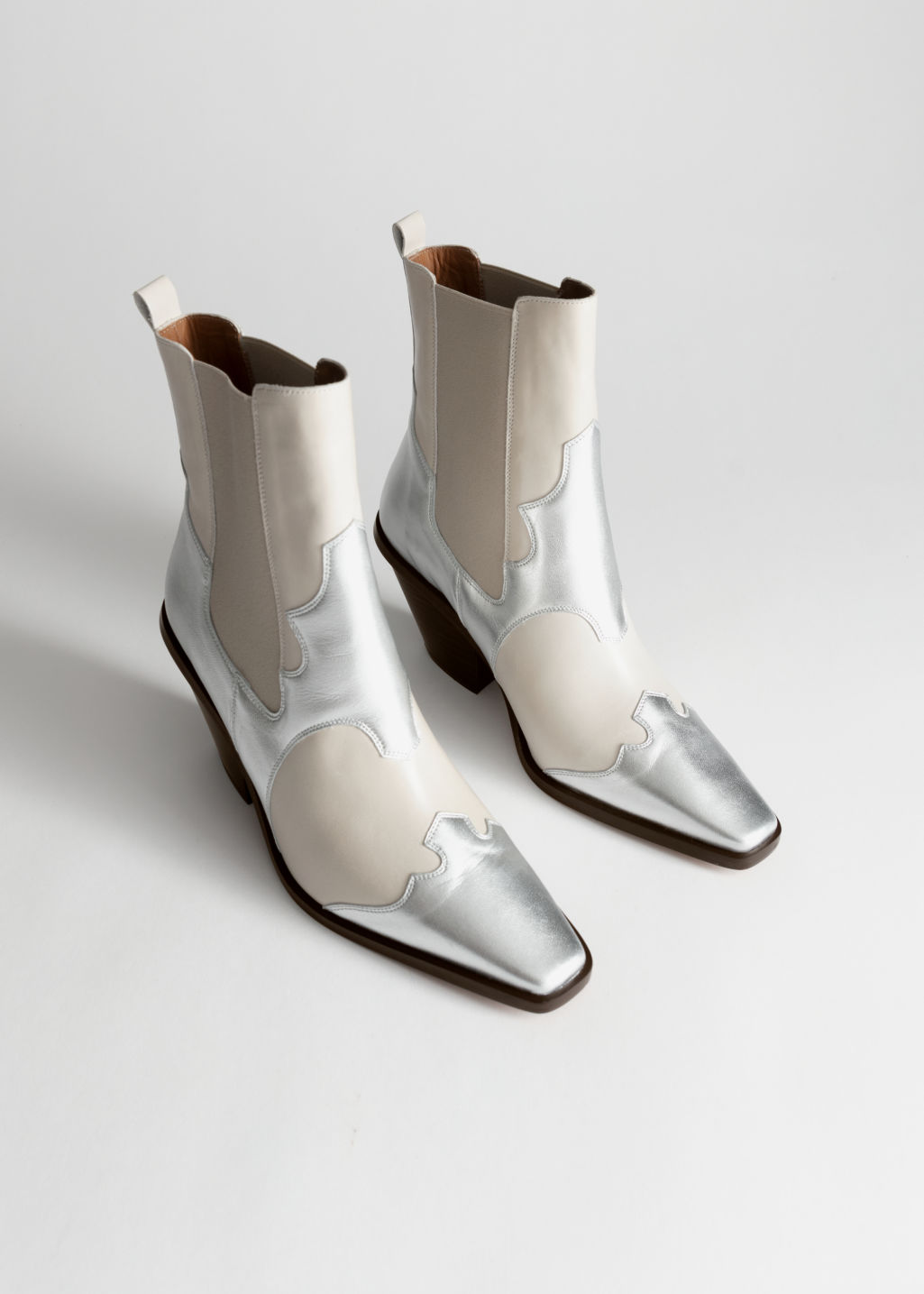 Front image of Stories square toe leather cowboy boots in silver