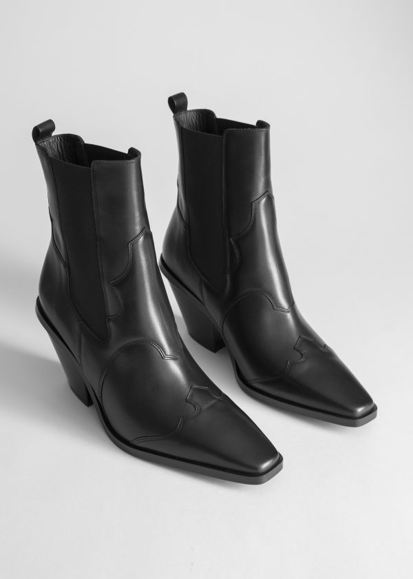 Front image of Stories square toe leather cowboy boots in black