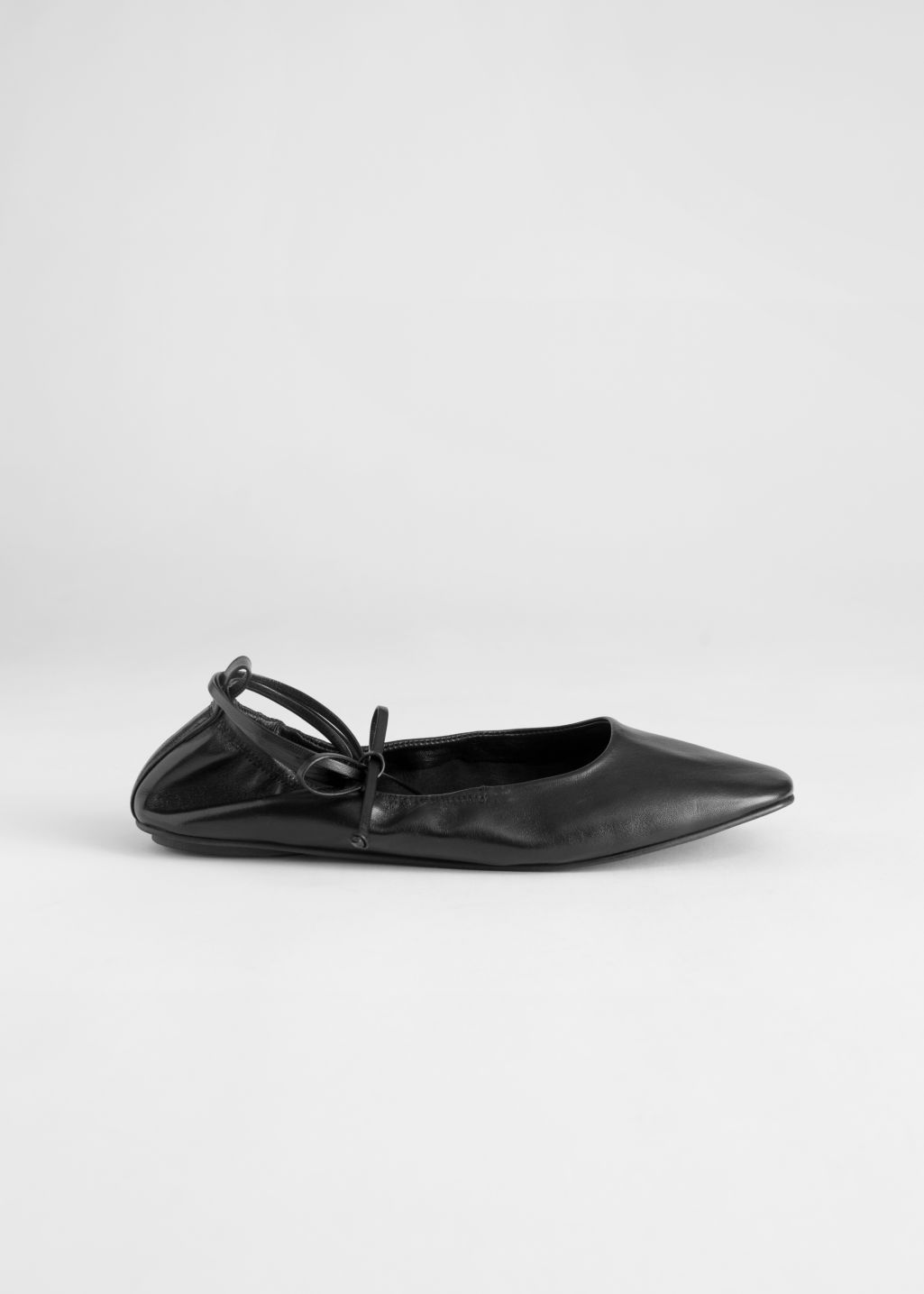 Back image of Stories square toe leather lace up flats in black