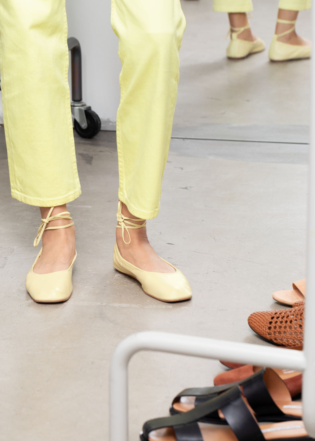 Front image of Stories square toe leather lace up flats in yellow