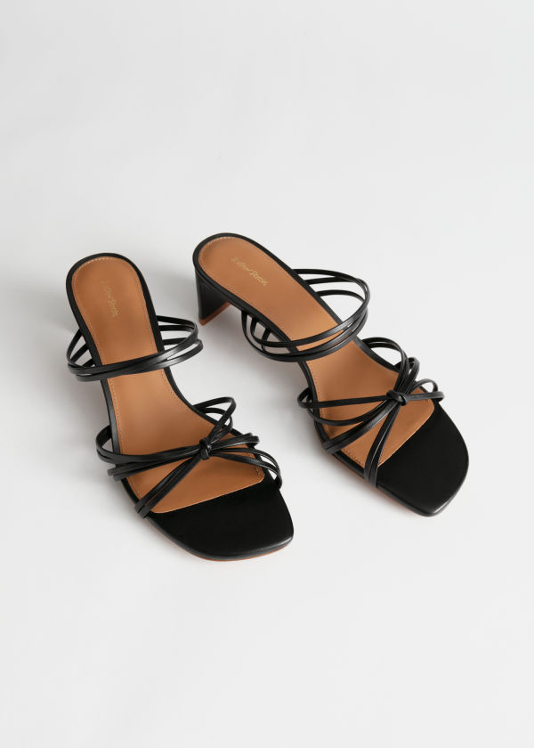 Strappy Knotted Heeled Sandals