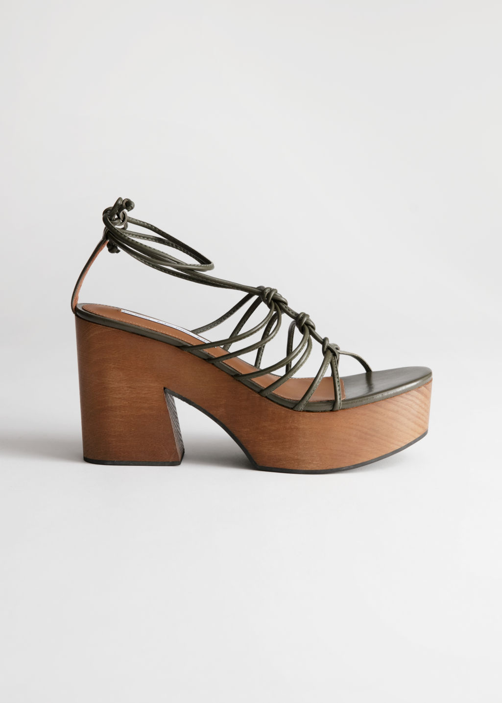 Back image of Stories lace up wooden platforms in beige