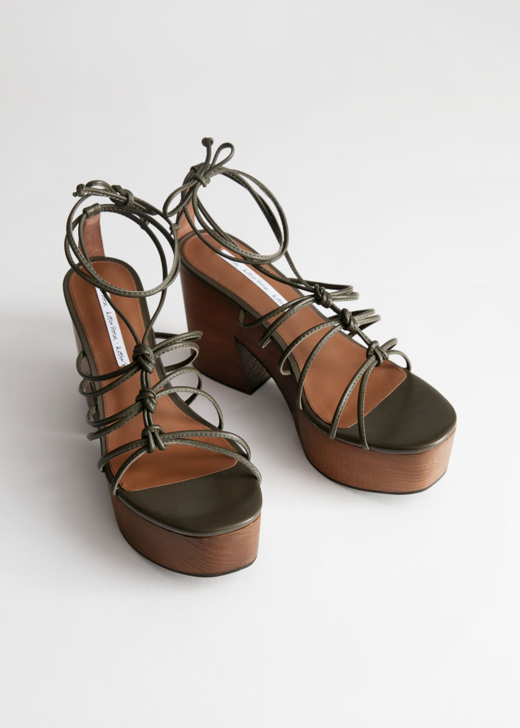Back image of Stories platform lace up wooden heels in beige