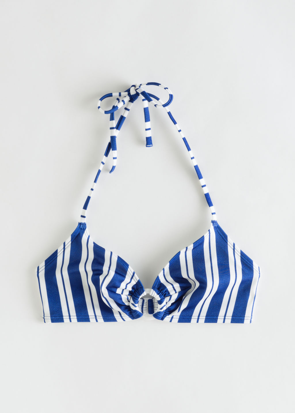 Front image of Stories striped halter bikini top in blue