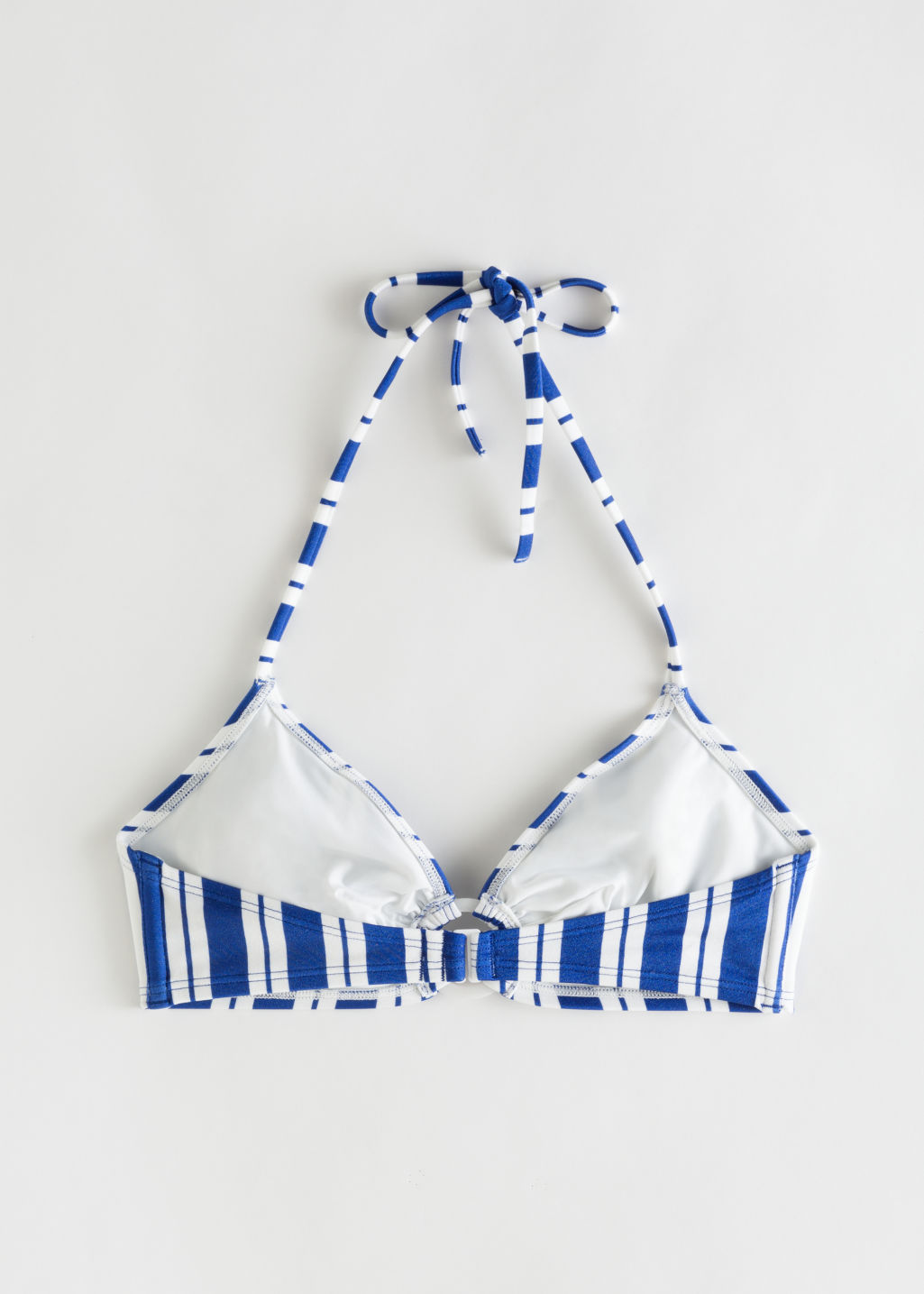 Back image of Stories striped halter bikini top in blue