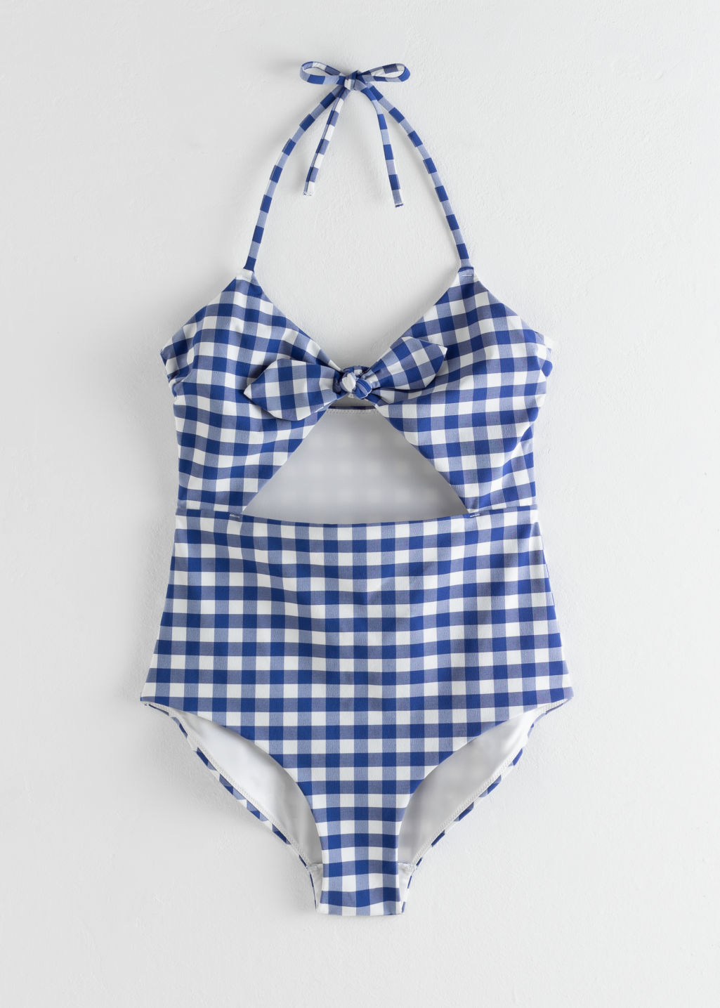 Front image of Stories gingham cutout halter swimsuit in blue
