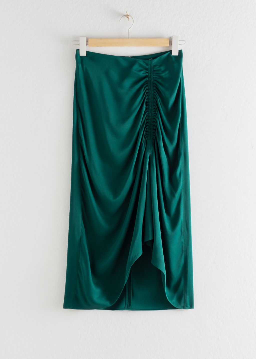 Front image of Stories gathered satin midi skirt in green