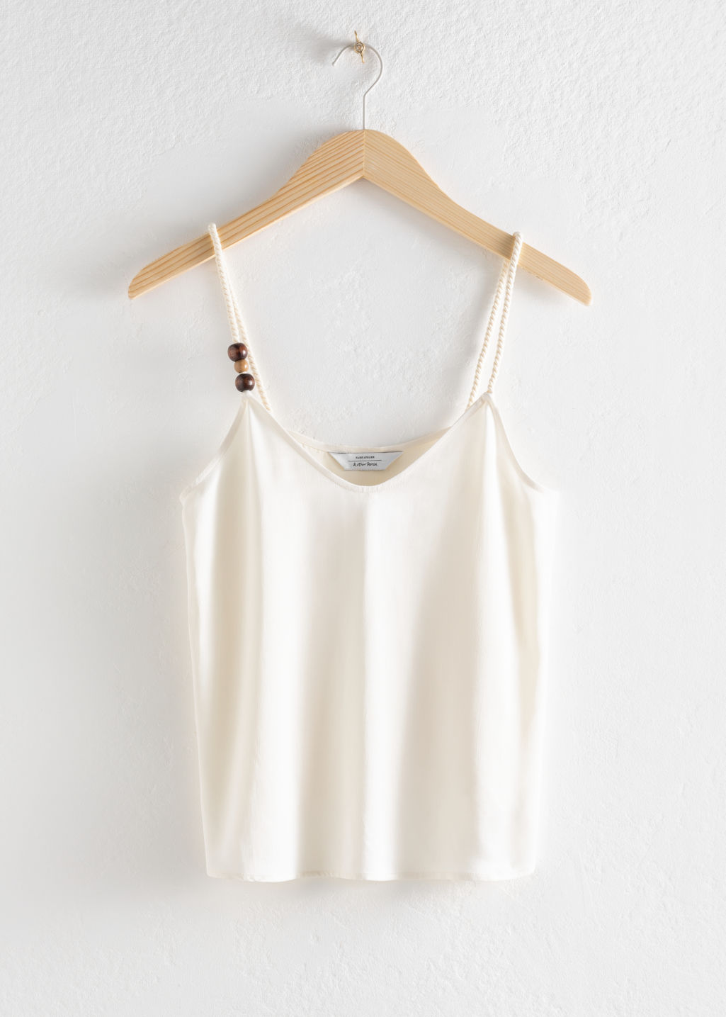 Front image of Stories trio bead lyocell blend tank top in white