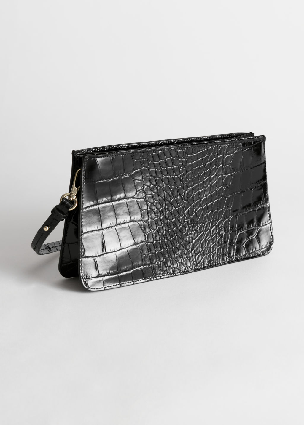StillLife Front Image of Stories Leather Croc Embossed Shoulder Bag in Black