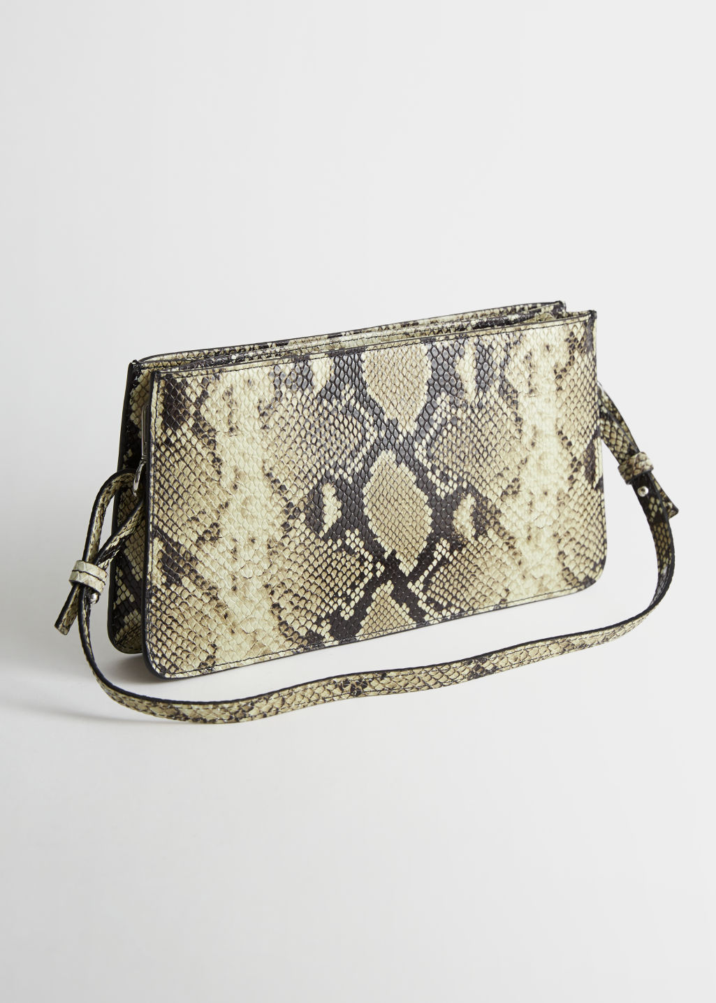 Back image of Stories leather croc baguette in beige