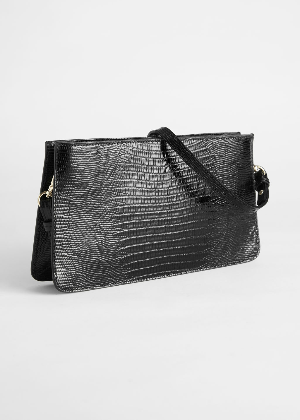Front image of Stories leather croc baguette in black